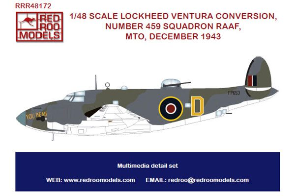 Red Roo RAAF Lockheed Ventura 459 Sqn MTO 1943 - 1/48 scale