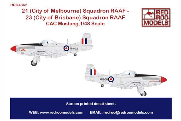 Red Roo 21 & 23 Squadron RAAF CAC Mustangs - 1/48 scale