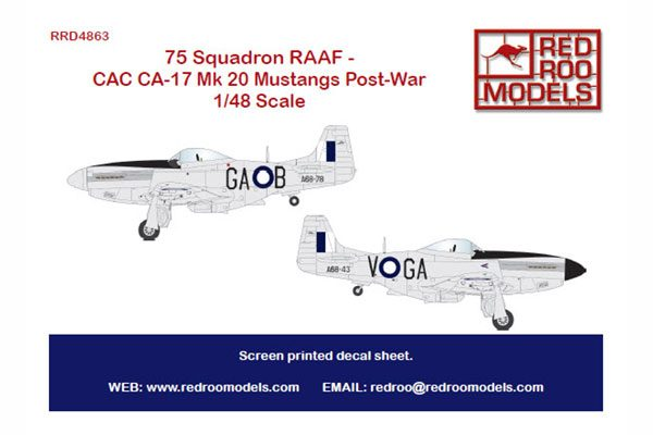 Red Roo 75 Squadron RAAF - CAC CA-17 Mk 20 Mustangs post-war - 1/48 Scale